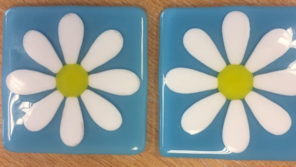 Blue Daisy Coasters - Pair