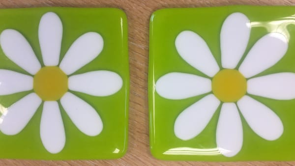 Green Daisy Coasters - Pair